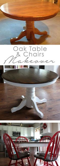 Oak Table Makeover DIY oak table and chair makeover Refurbished Furniture, Repurposed Furniture, Furniture Makeover, Painted Furniture, Painting Oak Furniture, Painted Oak Table, Painting Kitchen Chairs, Painted Kitchen Tables, Painted Chairs