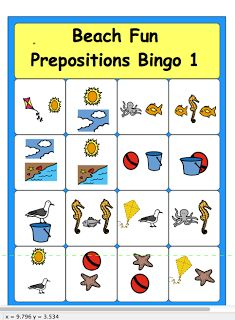Beach Fun Prepositions Bingo---free download  - Pinned by @PediaStaff – Please Visit  ht.ly/63sNt for all our pediatric therapy pins
