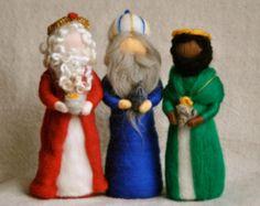 Natividad escena Waldorf inspiradora aguja fieltro muñecos de Navidad: los Reyes Magos