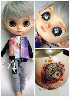Allenfalls gemalt-Custom Factory Blythe Boy Puppe mit Kleidung-Getriebe und Uhr