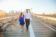 Indian Pre-Wedding engagement photos on the Brooklyn Bridge at sunset, New York City