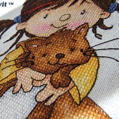 Types of stitches: a cross stitch, petite stitch, back stitch, french knot; The cross stitch kit. Back Stitch, Stitch Kit, Cross Stitch, Types Of Stitches, Cat Decor, Food Themes, Cute Characters, Snoopy, Teddy Bear