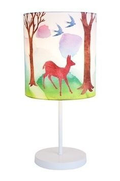 This beautifully decorated lamp is the perfect addition to a child's bedroom. It has a soft coloured scene of animals in the forest. This lamp is unusual as it is beautiful! Perfect for a boys or girls nursery or bedroom.