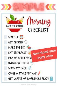 Kids Morning Checklist, Morning Routine Printable, Morning Routine Chart, Morning Routine School, School Checklist, After School Routine, Kids Checklist, Kids Schedule, School Routines