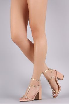 e6872d23150 Liliana Clear Studded Cage Double Ankle Strap Chunky Heel Ankle Strap Heels