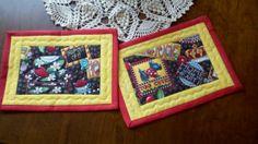 Mary Engelbreit mug rugs, like the outline stitching around the sides