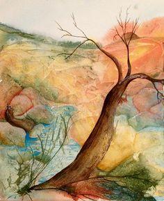 My old tree Mon vieil arbre  une aquarelle originale de Twisted Tree, True Colors, Watercolors, Original Artwork, The Originals, Abstract, Prints, Painting, Originals