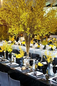 Ornaments and yellow floral arrangements for wedding - Hou .- Ornaments and yellow floral arrangements for wedding – Housekeeping Magazine: Decoration Ideas, Inspiration, Tips & Trends - Reception Decorations, Event Decor, Wedding Centerpieces, Table Decorations, Yellow Centerpieces, Centerpiece Ideas, Beautiful Table Settings, Deco Floral, Bat Mitzvah