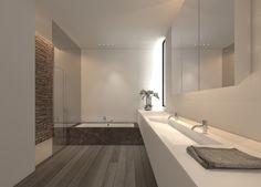 ก่ออ่างล้างมือ Soft atmosphere and pure lines, bathroom design by Filip Deslee _