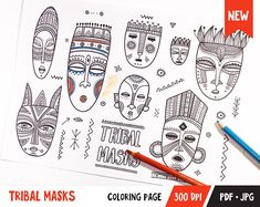 Tribal Masks Printable Coloring Page for Adult and Kids Print