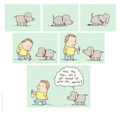 "jimbenton.com - Weirdo Dog Poop ""How the hell did I get mixed up with this weirdo?"" #dog #poop #comic"