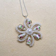 White Flower Pendant Necklace Bridal Wire by AnnaWireJewelry, $39.99