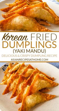 Fried Korean Dumplings yaki mandu - These fried dumplings are filled with ground pork vegetables and a few different seasonings to make it extra delicious Full recipe at Wonton Recipes, Pork Recipes, Asian Recipes, Appetizer Recipes, Cooking Recipes, Appetizers, Easy Korean Recipes, Korean Dumplings, Fried Dumplings Chinese