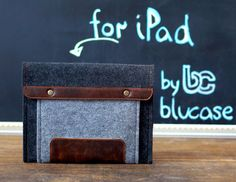 iPad case. iPad Mini case with leather and button closure .Grey & black felt iPad 1 2 3 4. Ipad mini 2 with Retina tablet case by BluCase on Etsy https://www.etsy.com/listing/191299652/ipad-case-ipad-mini-case-with-leather