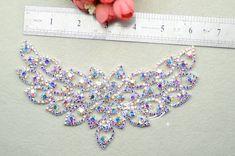 Fashion handmade Bridal Sew On Dress Applique AB Crystal