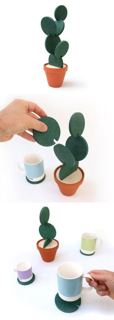 Coasters Cactus, Cactus Coaster, Coaster Set, Cacti Cacti Coasters by Designer Clive Roddy on Etsy is a clever way to store your coasters when they're not in use. Diy And Crafts, Arts And Crafts, Ideias Diy, Cactus Flower, Cactus Cactus, Cactus Leaves, Coaster Set, Coaster Design, Diy Gifts