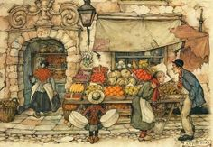Anton Pieck was a Dutch painter, artist, and graphic artist. His works are noted for their nostalgic or fairy tale-like character and are widely popular, appearing regularly on cards and calendars. Alphonse Mucha, Illustrator, Anton Pieck, Walter Crane, Cross Stitch Supplies, Dutch Painters, Dutch Artists, 3d Prints, Children's Book Illustration