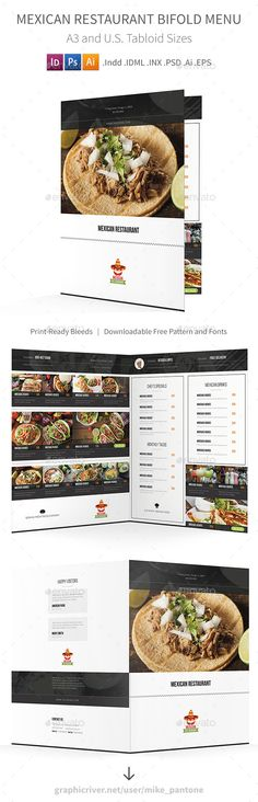 Mexican Restaurant Bifold / Halffold Brochure - Food Menus Print Templates Download here : https://graphicriver.net/item/mexican-restaurant-bifold-halffold-brochure/19064074?s_rank=125&ref=Al-fatih