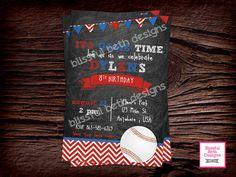 BASEBALL BIRTHDAY INVITATION  Baseball Birthday Invitation, Printable Baseball Birthday Invitation, Baseball Birthday Invite, Baseball by BlissfulBethDesigns on Etsy