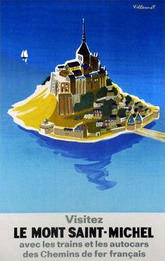 Visit Le Mont Saint-Michel by Bernard Villemot (1968)