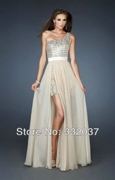 Custom Made Sexy One Shoulder Side Slit Champagne Chiffon Prom Evening Dress With Detachable Skirt Party Gowns 2014 New Arrival