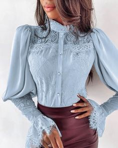 Fashion Women Long Sleeve Lace Shirt Button Down Shirt OL Ladies Floral Loose Lantern Sleeve Blouse Casual Tops, Blue / XL Mode Chic, Look Vintage, Mode Hijab, Fashion Outfits, Womens Fashion, Ladies Fashion, Style Fashion, Fashion Design, Casual Tops