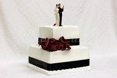 2 tier wedding cake with gorgeous roses and bride and groom cake topper 2 Tier Wedding Cakes, Wedding Cake Photos, Gun Wedding, Wedding Ideas, James Bond Wedding, Bride And Groom Cake Toppers, Mr And Mrs Smith, Fondant, Photo Galleries