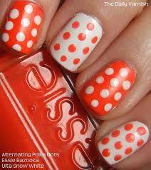 Orange and White Polka Dot Nails