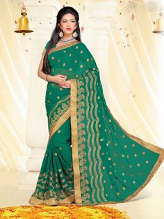 Sea Green Faux Georgette Party Wear Saree 70441