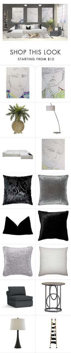 """Shades of grey"" by colonae ❤ liked on Polyvore featuring interior, interiors, interior design, home, home decor, interior decorating, Ren-Wil, Pillow Decor, M&Co and Squarefeathers"