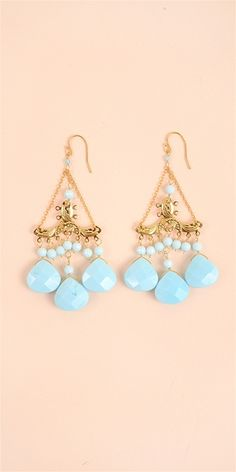 Drop Stone Earring - AquaAll Jewelry and Accessories are Final Sale.