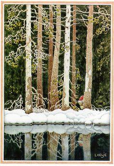 Helje Art Card Gnome in Pine Forest Sweden Tomte Nisse Santa Elf Postcard Baumgarten, John Bauer, Swedish Christmas, Christmas Gnome, Scandinavian Art, Children's Book Illustration, Faeries, Illustrators, Folk Art