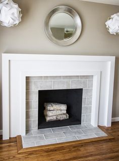 Painting Tile Fireplace Fireplace Makeover Part 3 Deliciously Done Painting Ceramic Tile Fireplace Hearth Tile Around Fireplace, Fireplace Tile Surround, Simple Fireplace, Fireplace Update, Fireplace Hearth, Fireplace Remodel, Fireplace Mantle, Fireplace Surrounds, Fireplace Design