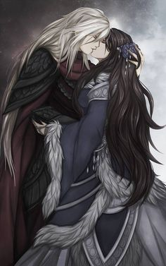 Many readers believe that Jon is not the son of Eddard Stark. Instead, he is the son of Prince Rhaegar Targaryen and Eddard's sister Lyanna. Rhaegar and Lyanna disappeared together to the Tower of Joy early in Robert's Rebellion. Rhaegar Y Lyanna, Jon Snow, Manga Couples, Character Inspiration, Character Art, Game Of Trone, Arte Game Of Thrones, Fantasy Couples, Yennefer Of Vengerberg