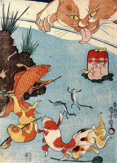 Kingyo-zukushi is one of the gi-ga(戯画) that the theme is funny picuture. Kuniyoshi personified goldfishes in the 9 ukiyo-e prints. Japanese Animals, Japanese Cat, Japanese Design, Japanese Culture, Japan Illustration, Japanese Art Prints, Japanese Painting, Woodblock Print, Era Edo