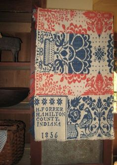 Red, White, & Blue 1856 Coverlet...