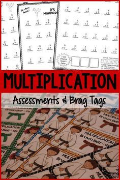 These multiplication assessments may be used for Pre-Assessments, Post Assessments, and speed practice. Research shows that timed tests actually increase math fact fluency. There are 10 Karate belt levels of Brag Tags for recognition when students master a level.  There are 10 Karate belt levels of Brag Tags for recognition when students master a level.  $ #PrimaryFlourish #TeachersPayTeachers #MathFactFluency #MultiplicationFacts