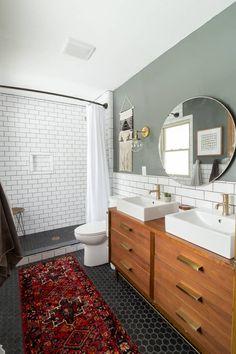 green bathroom Modern Bathroom with Subway Tile Reveal - Bright Green Door Bathroom Floor Tiles, Wood Bathroom, Master Bathroom, Bathroom Cabinets, Vanity Bathroom, Navy Bathroom, Bathroom Plants, Black Bathroom Floor, Restroom Cabinets