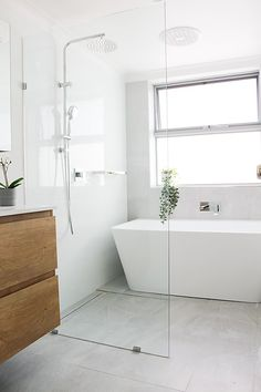 Before and After - Wet Rooms - On The Ball Bathrooms Walk In Shower Bath, Shower Bath Combo, Wet Room Shower, Bathtub In Shower, Freestanding Bathtub, Bath Tub, Small Bathroom Layout, Small Bathroom With Shower, Wet Room With Bath