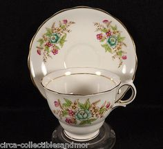 Colclough Cup and Saucer Hand Painted Flowers England Bone China Gold Trim Vtg