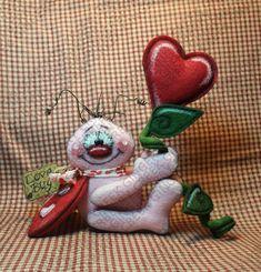 Love Blooms Here Lovebug Pattern – Primitive Doll Pattern – Valentine – Love Bug – Love – Heart – Ladybug – Fiber Art – Whimsical Valentine Love, Valentine Crafts, Valentines, Primitive Doll Patterns, Love Bugs, Wool Felt, Fiber Art, Ladybug, Etsy Seller