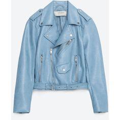КУРТКА ИЗ ИСКУССТВЕННОЙ КОЖИ (€40) ❤ liked on Polyvore featuring outerwear, jackets, zara, leather, jakke, leather jacket, genuine leather jacket, blue jackets and 100 leather jacket