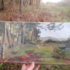 Last landscape painting in Asturias. Of  course again my pineforest. Why changing of subject when I love it?;) A HAPPY 2017 wish you all! thanks for following  I am back in Frankfurt here was snowing!! #landscapepainting #oiloncanvas #pleinairartist #onlocation #pinetrees #forest #evening #sunset #mypeacemoment #landschaft #malerei #instaart