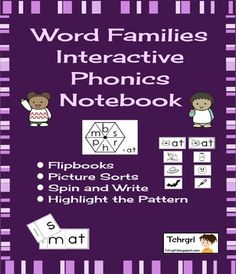 This is a one week/4 lesson sample of the Interactive Phonics Notebook Word Families.  The whole unit can be found here:Interactive Phonics Notebook Word Families 30 Weeks/ 4 lessons eachThis Interactive Phonics Notebook was designed for Kindergarten and First Grade classrooms and consists of 30 weeks of 4 lessons each:Lesson 1: Flip books Flip books provide an easy way to practice phonological awareness, the ability to manipulate the sounds in language, while applying the phonics skills…