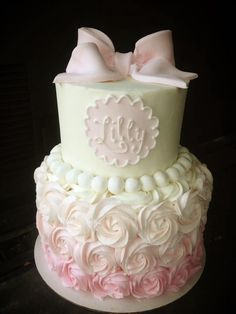 Baby shower cake - ya'll know how much I love to do my rosette cakes ♥!!! #girlbabyshower