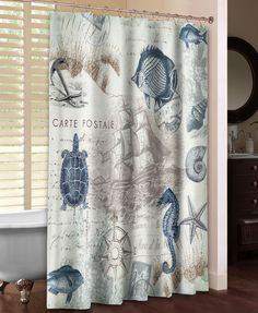 A Vintage Coastal Themed Curtain Featuring Navy And And Soft, Green Sea  Creatures And
