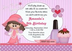 This adorable Dress Up party invitation is just one of the many designs available.  You can customize this invite with all of your daughter's party details.  Other party supplies include tableware, party favors, cake & cupcake supplies and decorations.