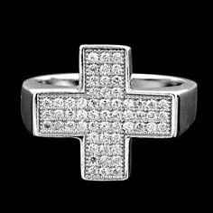 HOLY CROSS MICRO PAVE SET WHITE CUBIC ZIRCONIA (CZ) SOLID 925 SILVER UNISEX RING #Handmade #Ring