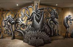 """Juxtapoz Magazine - Photos from Phlegm's """"The Bestiary"""" @ Howard Griffin Gallery"""