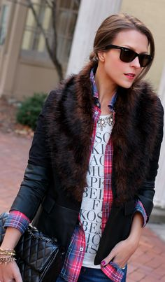 Use layers to dress up any graphic tee. Preppy Style, Her Style, Edgy Style, Fall Fashion Trends, Winter Fashion, Fashion 2014, Penny Pincher Fashion, Dress Up, Fashion Wear